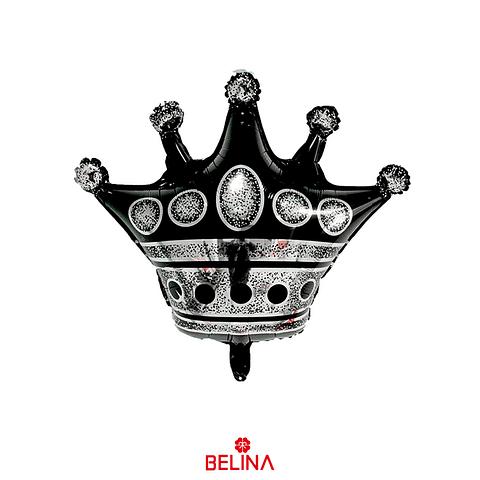 Globo Metalizado Corona Color Negro 76x75cm