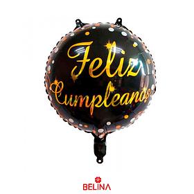 """Globo Metalico Feliz Cumpleaños Negro Con Dorado 18"""" 45x45cm"""