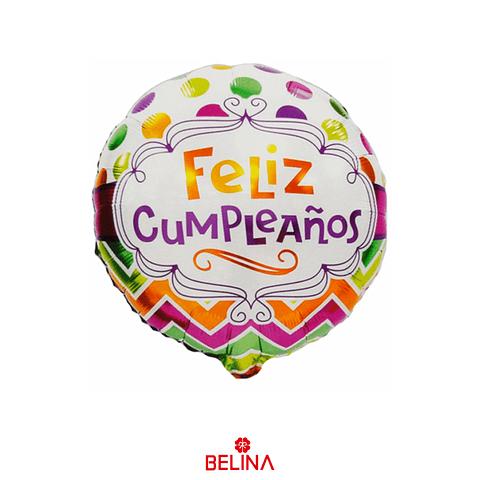 Globo Metalico Feliz Cumpleaños Colores 45cm