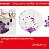 Globo Burbuja Confeti Redondo Morado 45cm