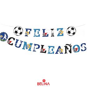 Guirnalda Feliz Cumpleaños Motivo Futbol 4,5m