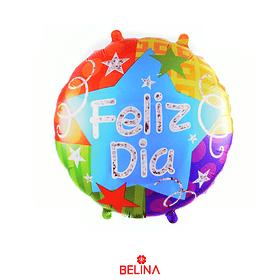 Globo Metalizado Feliz Dia Colores 45cm