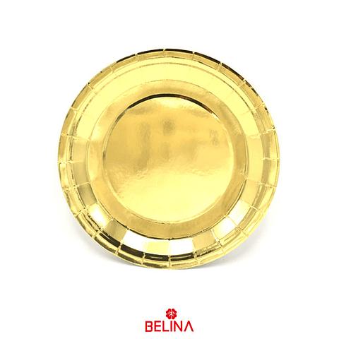 Plato Grande Metalizado Oro 23cm
