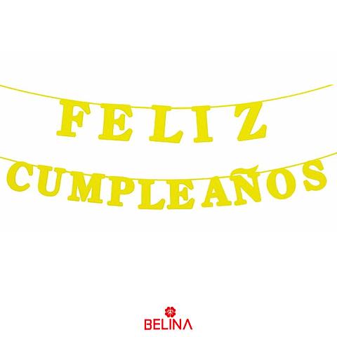 Guirnalda Feliz Cumpleaños Amarillo 15pcs 3m