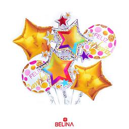 Set De Globos Metálicos Estrellas Feliz Cumpleaños 5pcs