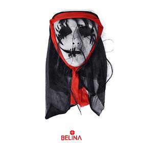 Máscara Halloween Con Cabello Y Tela Posterior 17x18x7cm