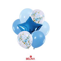 Set De Globos Azul Con Estrella 7pcs