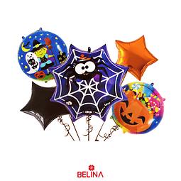 Set De Globos Metálicos Telaraña De Halloween 5pcs