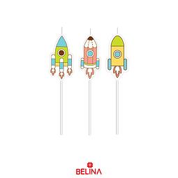 Velas Cohetes 3pcs