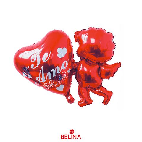 Globo Metalico Corazon/Cupido Rojo 60x78cm 1pcs