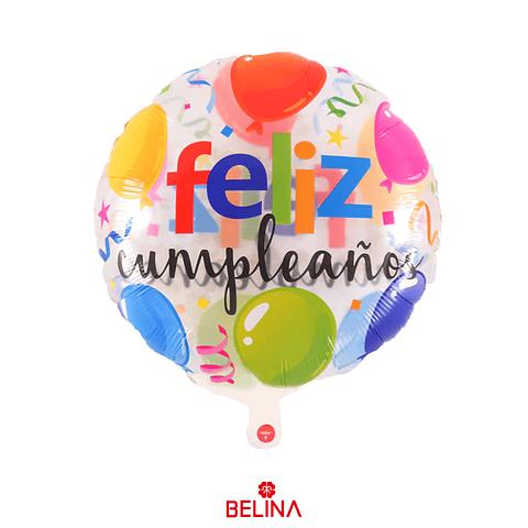 Globo transparente feliz cumpleaños 45cm