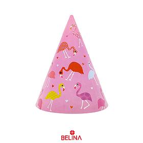 Gorro Carton Rosa Flamingo 6pcs