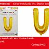 Globo Letra U Oro 16 Pulgadas