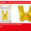 Globo letra W oro 16 pulgadas