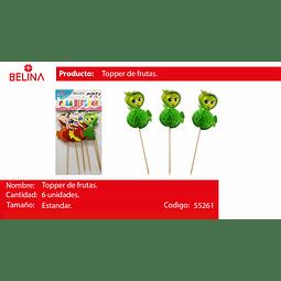 TOPPER PARA TORTA FRUTAS ANIMADAS 6PCS