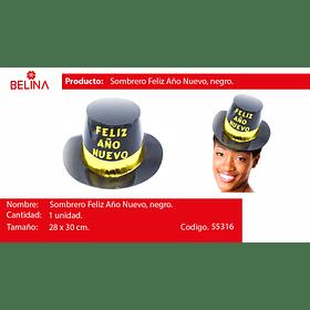 Sombrero feliz año nuevo negro/dorado