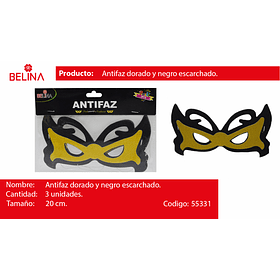 Antifaz negro/oro 3pcs