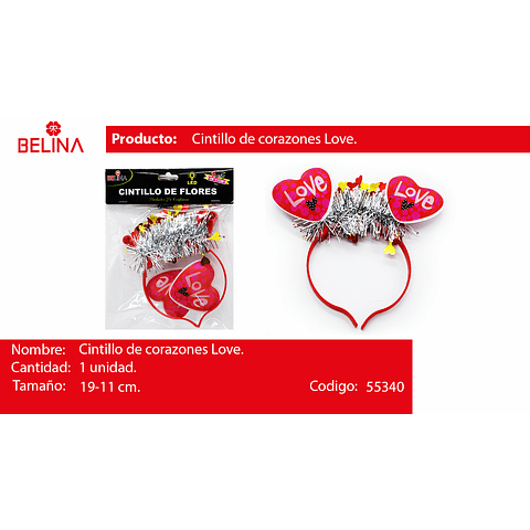 Cintilo led corazones love 1pcs 19*11cm