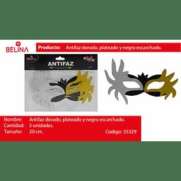 Antifaz gllitter oro/plata/negro 3pcs