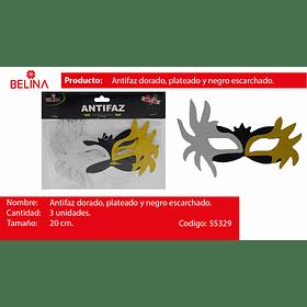 Antifaz glitter oro/plata/negro 3pcs