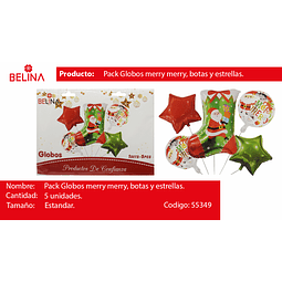 Set de globos navidad bota/estrellas 5pcs