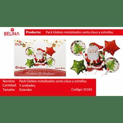 Set de globos navidad papa noel/estrellas 5pcs