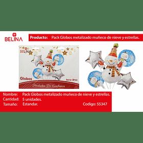 Set de globos muñeco de navidad/estrellas 5pcs