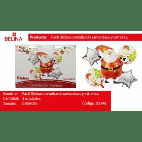 Set de globos papa noel/estrellas/redondo 5pcs