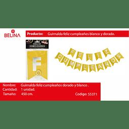 GUIRNALDA GUIRNALDA FELIZ Cumpleanos PLATA/ORO 450CM 15PCS