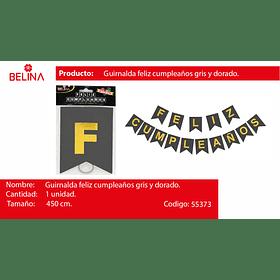 GUIRNALDA GUIRNALDA FELIZ CUMPLEAÑOS NEGRO/ORO 450CM 15PCS