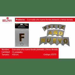 GUIRNALDA FELIZ AÑO NUEVO PLATA/DORADO 450CM 13PCS