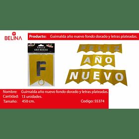Guirnalda feliz año nuevo plata/oro 450cm 13pcs