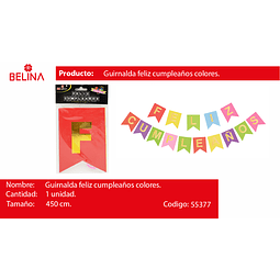 GUIRNALDA FELIZ CUMPLEAÑOS COLORES 450CM 15PCS