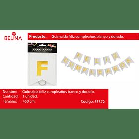 GUIRNALDA FELIZ CUMPLEAÑOS PLATA/ORO 450CM 15PCS