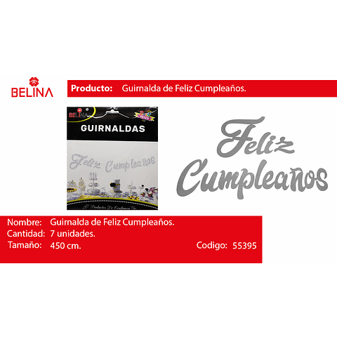 GUIRNALDA FELIZ CUMPLEAÑOS BRILLANTE 450CM