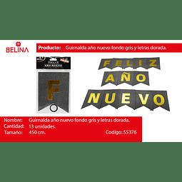 GUIRNALDA FELIZ AÑO NUEVO NEGRO/DORADO 450CM 13PCS
