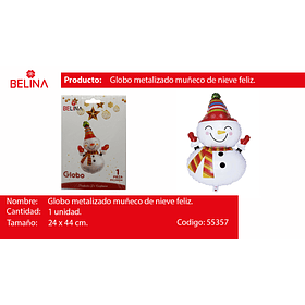Globo muñeco de nieve 24*44cm