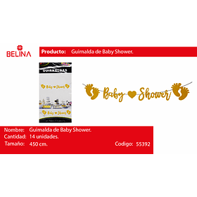 Guirnalda baby shower dorado 450cm 14pcs