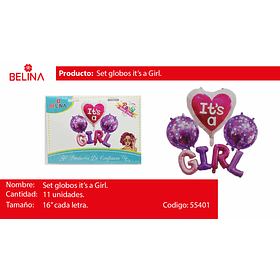 SET DE GLOBOS IT'A GIRL 7PCS