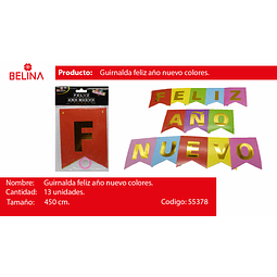 GUIRNALDA FELIZ AÑOS NUEVO COLORES 450CM 13PCS