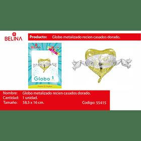 Globo metalico corazon dorado con palomas 58.5*106cm
