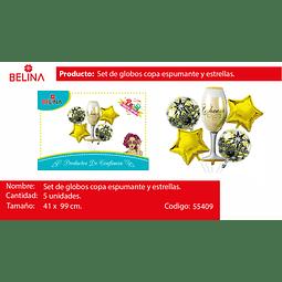 SETS DE GLOBO COPA/ESTRELLA ORO 5PCS