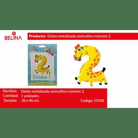 Globo numero 2 jirafa 40*51cm