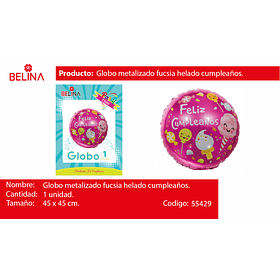 "Globo Metalico Feliz Cumpleaños Dulces 18"" 45x45cm"