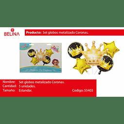 SET DE GLOBOS CORONA/ESTRELLAS 5PCS