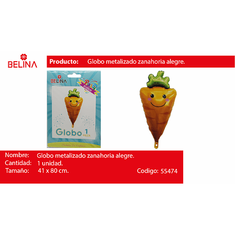 Globo metalico zanahoria 41*80cm