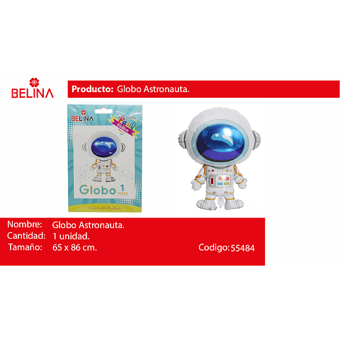 Globo metalico astronauta 65*86cm