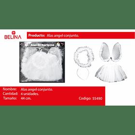 Disfraz de angel blanco/plata 44cm 3pcs
