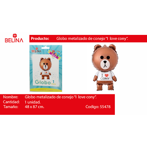 Globo metalico oso teddy 48*87cm