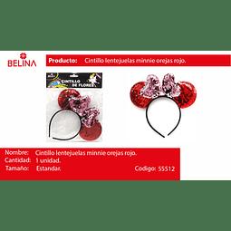 Cintillo orejas con lentejuelas rojo/lila 22cm